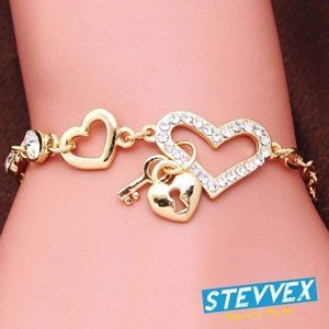 Elegant Diamond Heart Chain Bracelet Gold Women's